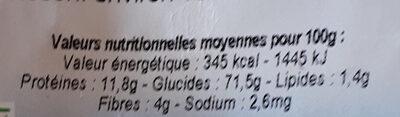 Coquillettes pâtes demi-complètes - Informations nutritionnelles - fr