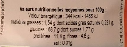 Farine de Blé Blanche Type 70 - Voedigswaarden