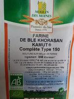 FARINE DE BLE KHORASAN KAMUT  Complète type 150 - Ingredients - fr