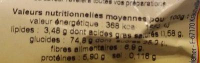 Farine de châtaigne - Informations nutritionnelles