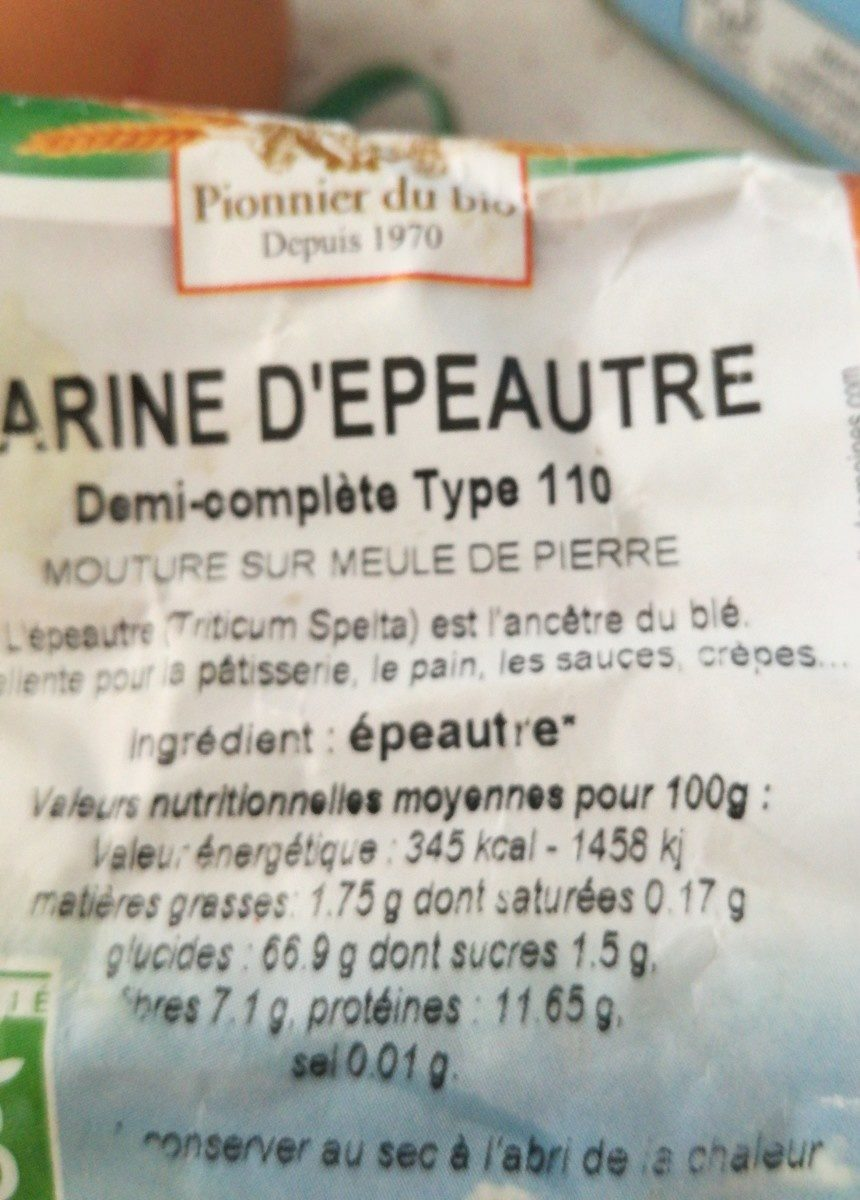 Farine Epeautre T110 - Ingredients