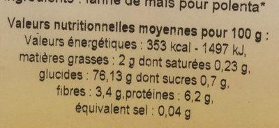 Farine de maïs - Voedingswaarden