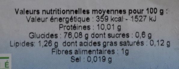 Farine de petit épeautre - Informations nutritionnelles