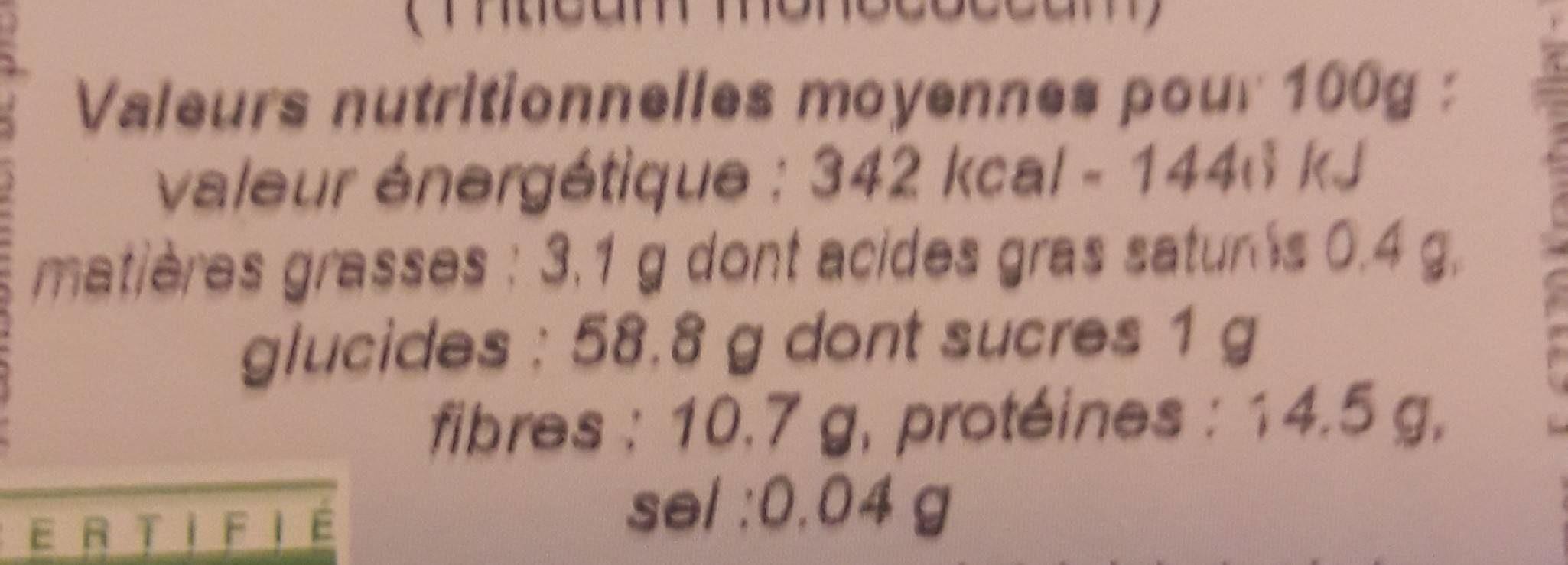 Farine de petit épeautre complète type 150 - Información nutricional