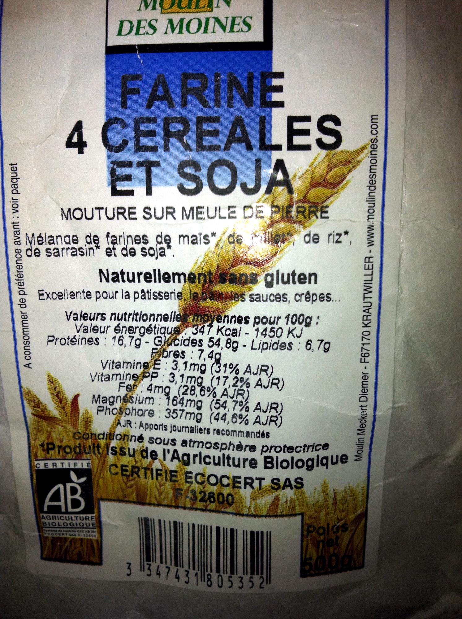 Farine 4 céréales et soja - Produit