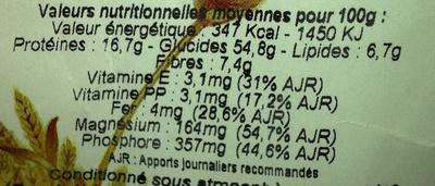 Farine 4 céréales et soja - Informations nutritionnelles