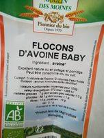 Flocons d'avoine Baby - Ingrédients