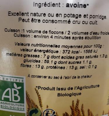 Flocons d'avoine Baby - Informations nutritionnelles
