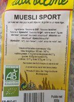 Muesli sport - Voedingswaarden - fr