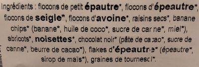 Muesli aux pépites de chocolat - Ingrédients - fr