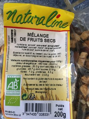 Mélange de Fruits Secs Bio 200 g Lot de 5 - Ingredients - fr