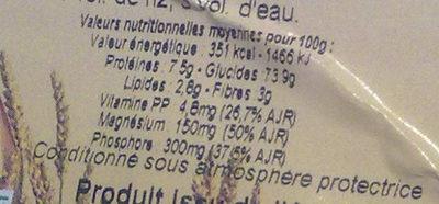 Riz basmati complet - Informations nutritionnelles