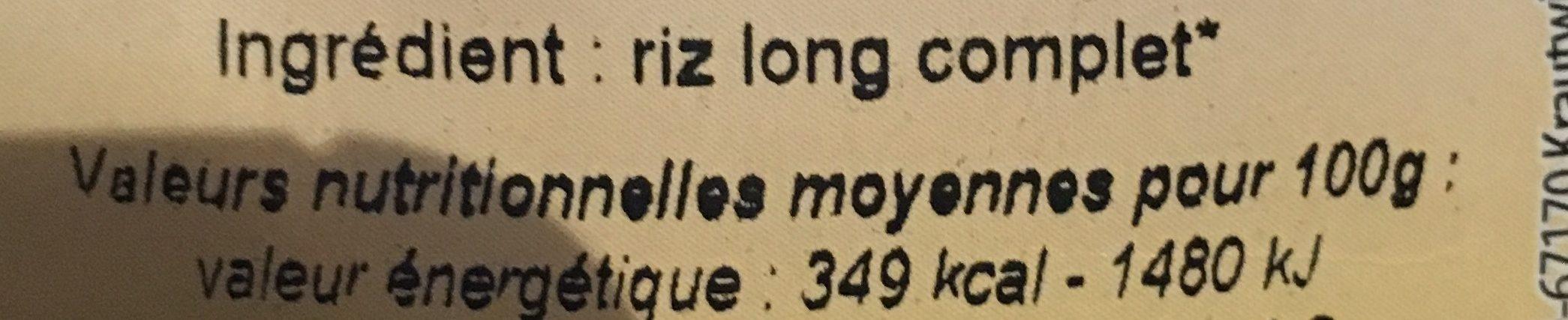 Riz long complet - Ingredients - fr