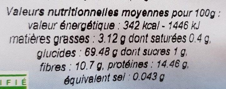 Boulgour de petit épeautre - Voedingswaarden - fr