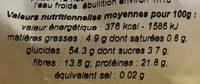 Pois Chiches Secs Non Cuit - Informations nutritionnelles
