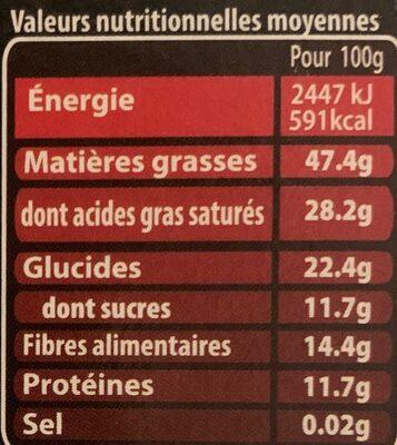 Chocolat noir intense 85% - Valori nutrizionali
