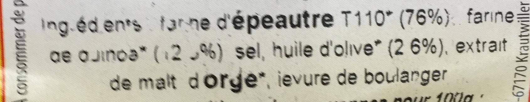 Bretzel epeautre quinoa - Ingredienti - fr