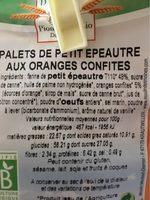Palets de petit epautre - Nutrition facts