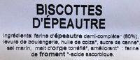 Biscottes d'Epeautre - Ingrédients - fr
