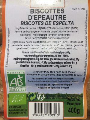 Biscottes d'Epeautre - Informations nutritionnelles - fr