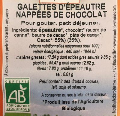 Galettes d'epeautre chocolat - Ingrédients - fr