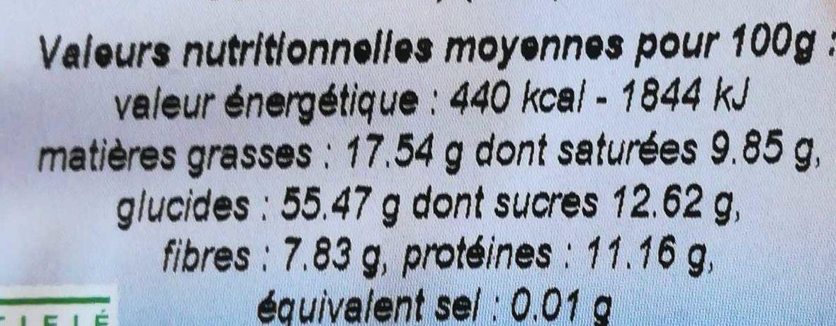 Galettes d'epeautre chocolat - Informations nutritionnelles - fr