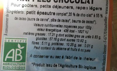 Galettes De Petit Epeautre Napees De Cacao - Ingredients