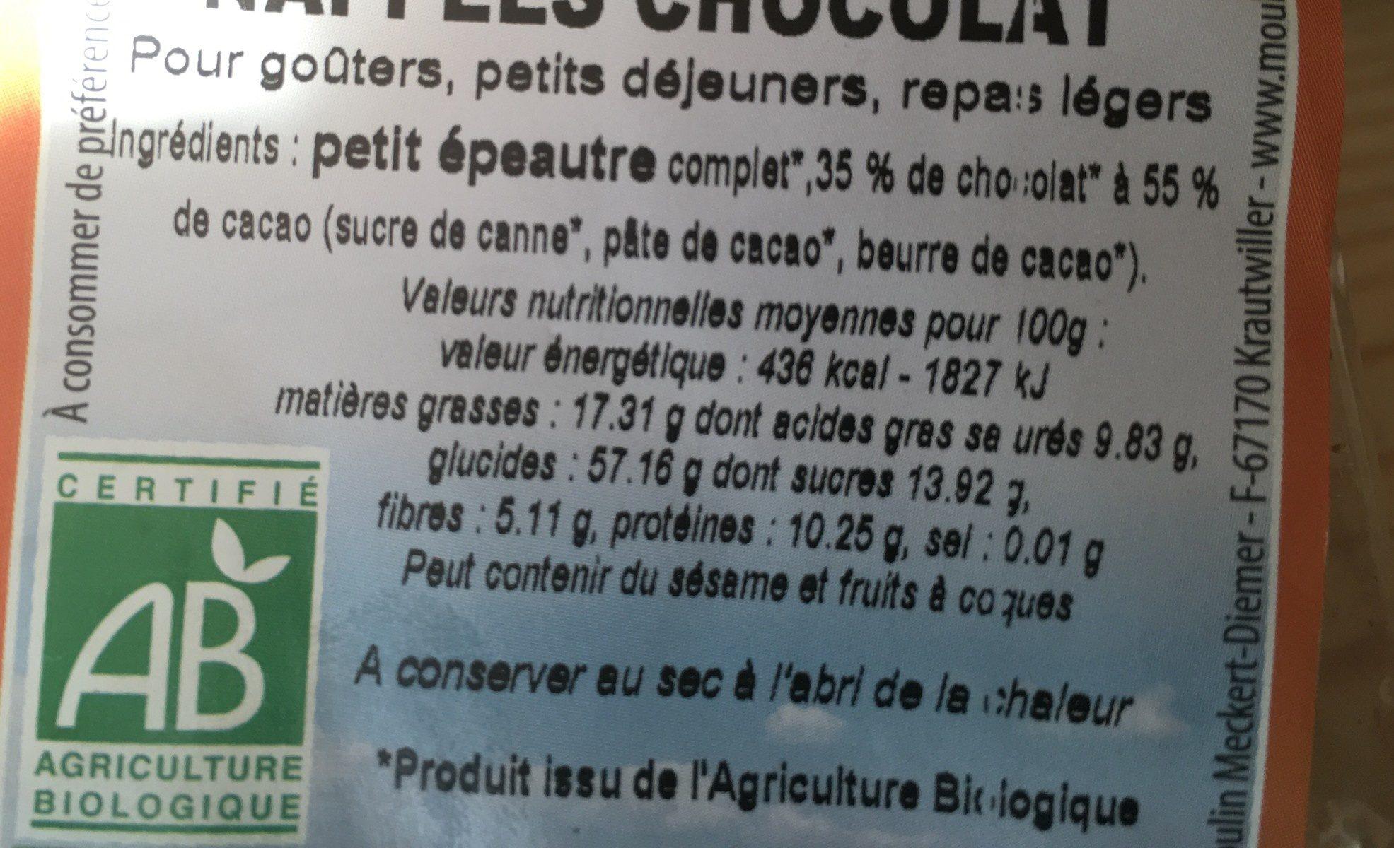 Galettes de petit épeautre napées de chocolat - Ingredients - fr