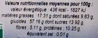 Galettes De Petit Epeautre Napees De Cacao - Nutrition facts