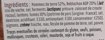 tartiflette au reblochon - Ingrediënten - fr
