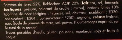 Tartiflette de Savoie au reblochon AOP - Ingrediënten - fr