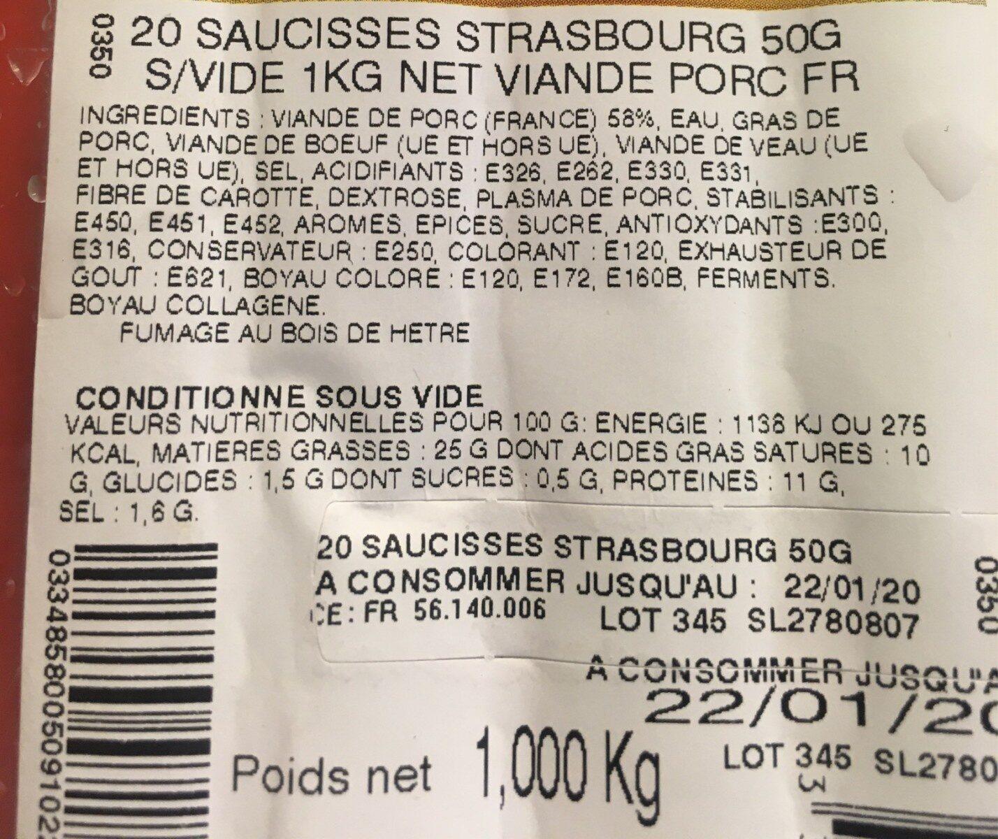 Saucisse strasbourg - Voedingswaarden - fr