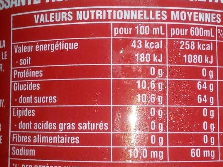 cocacola - Informations nutritionnelles - fr