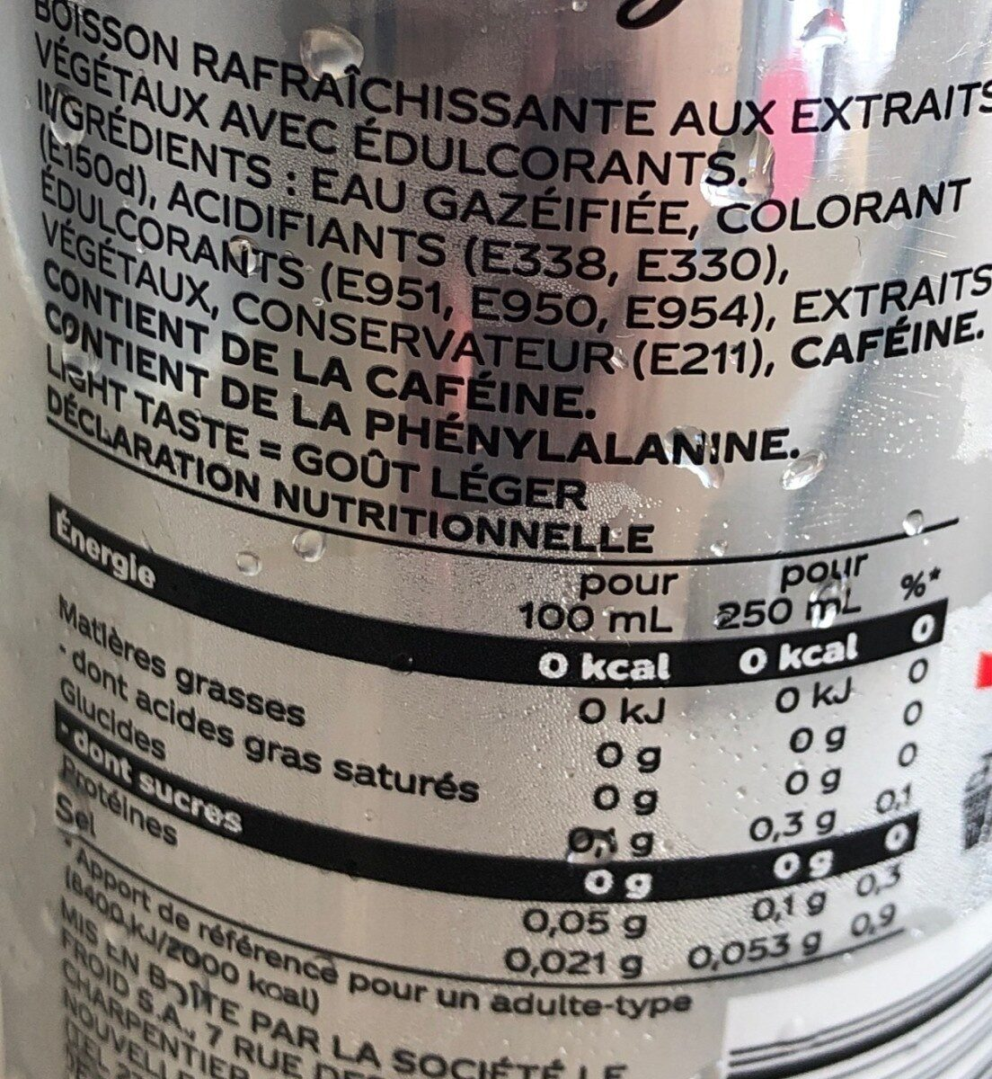 Coke light - Nutrition facts