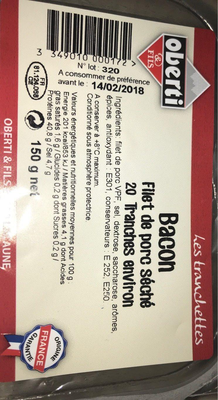 Bacon Tranches Fines - Produit - fr