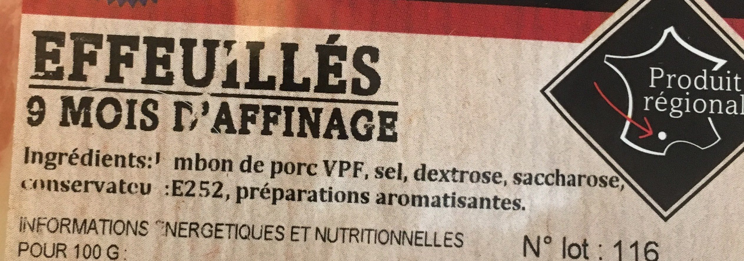 Jambon de Lacaune - Ingrédients - fr
