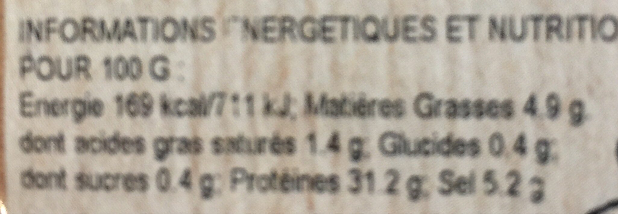 Jambon de lacaune - Nutrition facts - fr