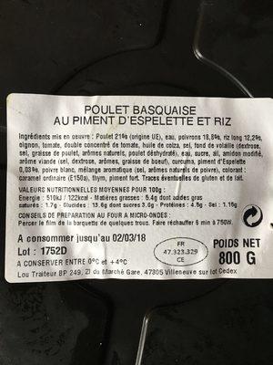 Lou Gascoun Le Poulet basquaise piment d'Espelette et riz cuisin... la barquette de 800 g - Ingrediënten - fr