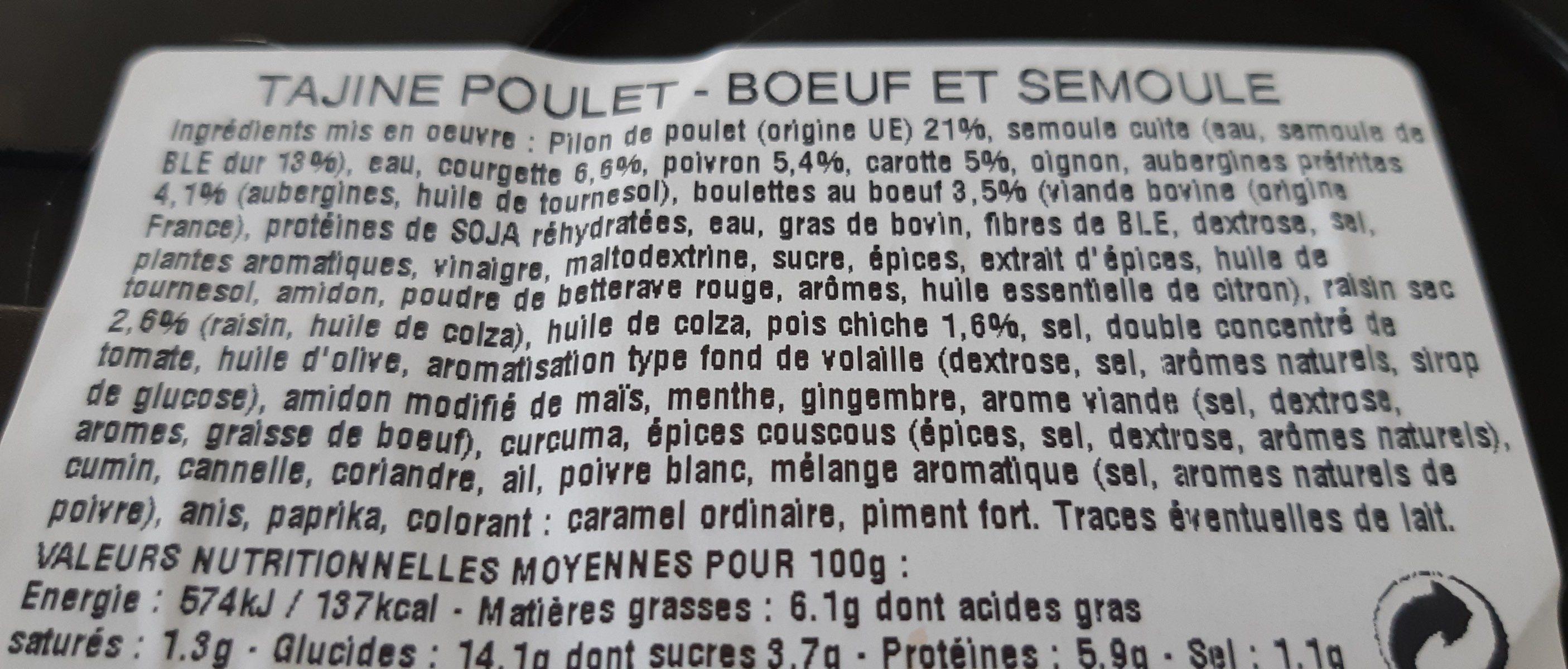 tajine poulet boeuf et semoule - Ingrédients - fr