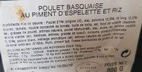 Poulet basquaiqe au piment d'Espelette et riz cuisiné - Ingrediënten - fr