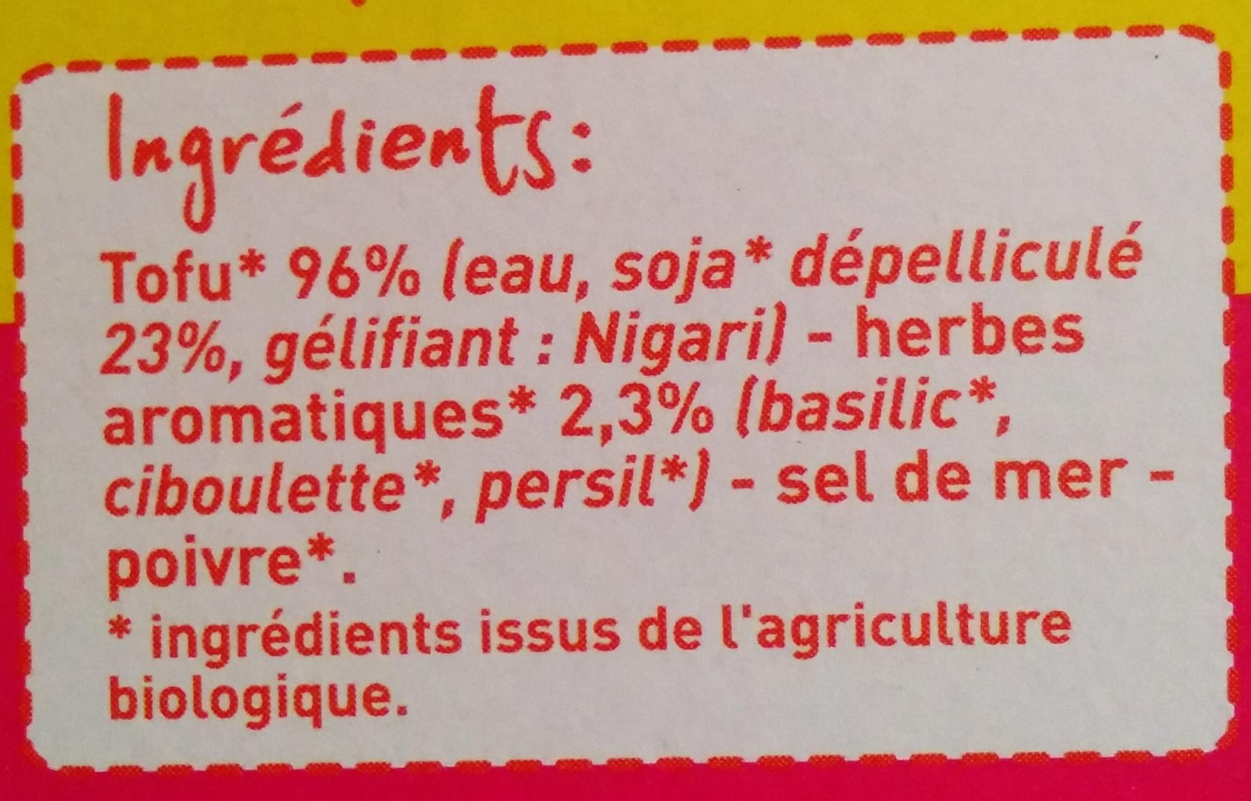 Tofu Bio aux herbes aromatiques - Ingrédients - fr