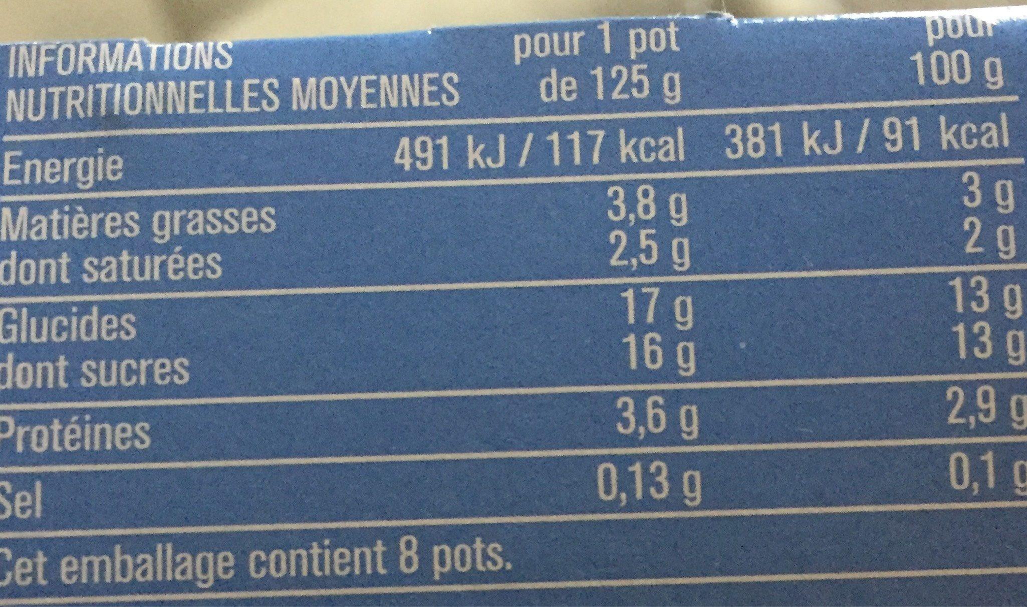 Yaout sans morceaux brassés aux fruits - Nutrition facts