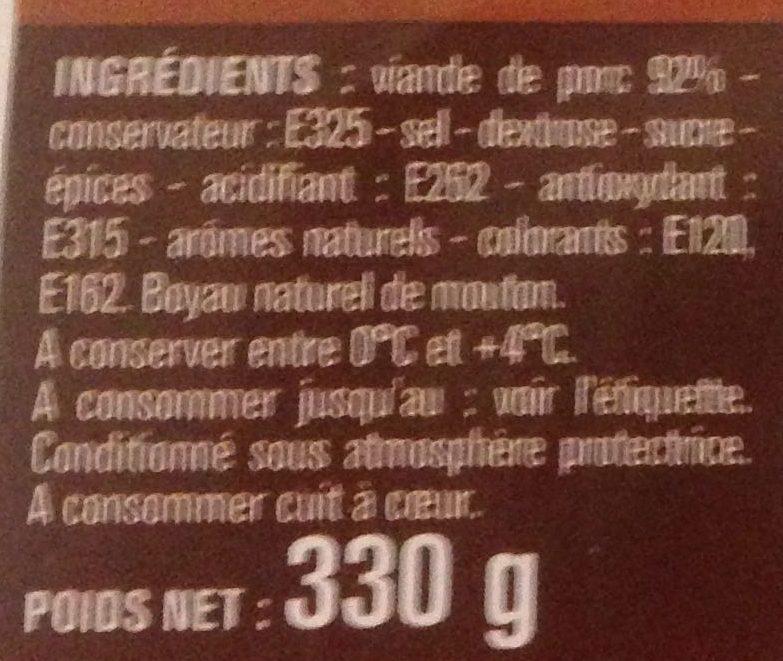 Chipolatas Supérieures Nature - Ingredients - fr