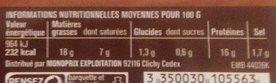 Chipolatas Supérieures Nature - Nutrition facts - fr