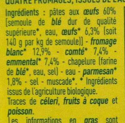 Ravioli 4 fromages - Ingredients