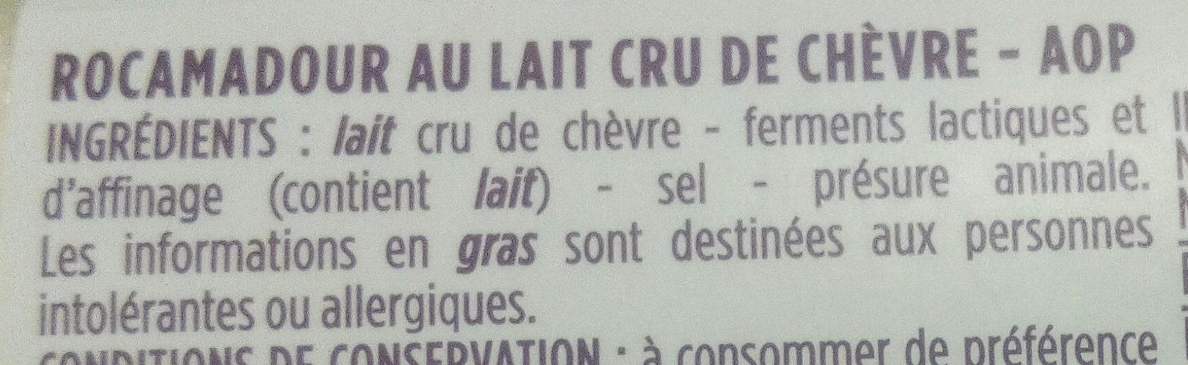 Rocamadour, fromage de chèvre au lait cru, AOC - Ingrédients - fr