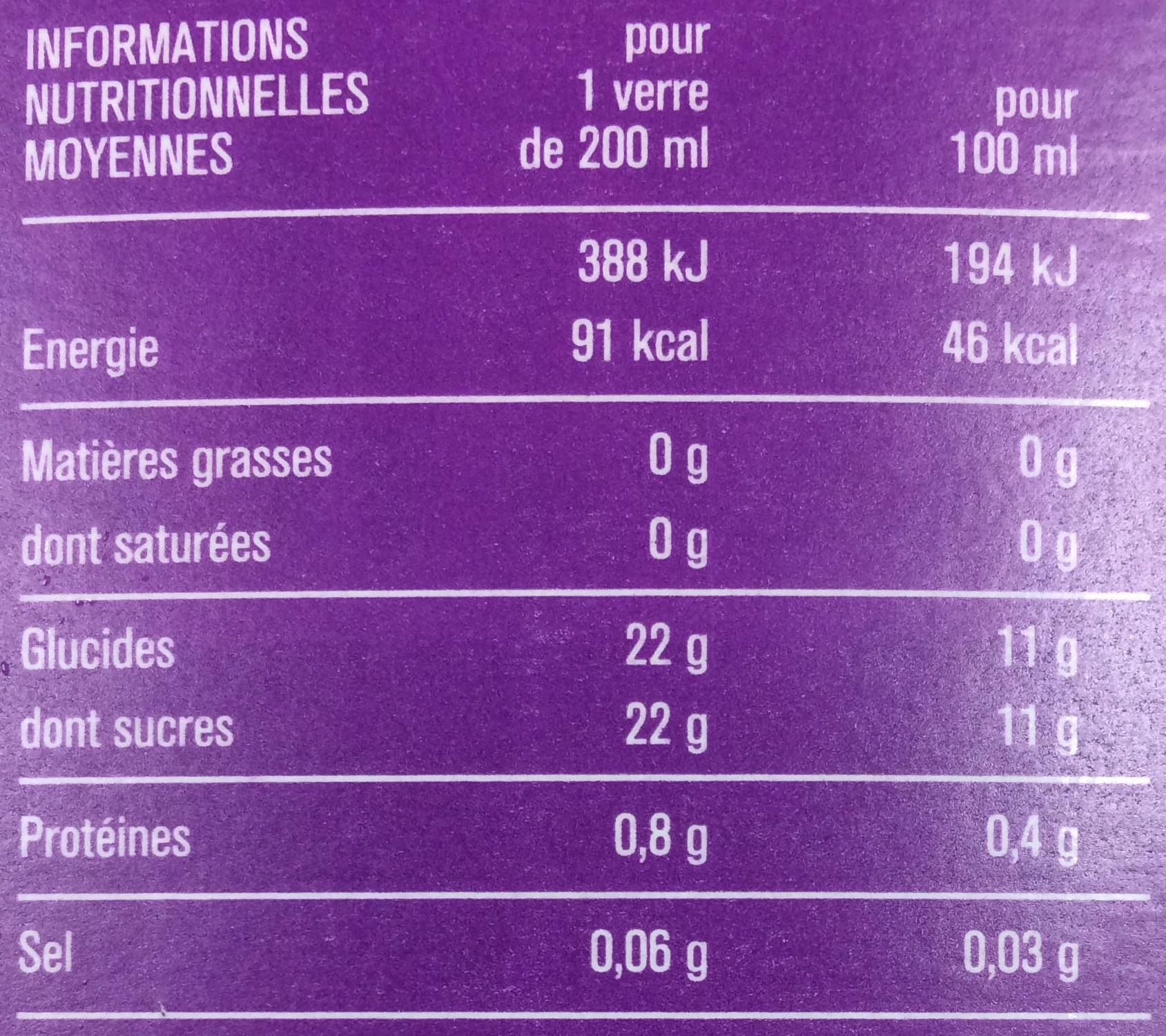 100% Pur Jus Fruit Pressé Multi Fruits - Voedigswaarden