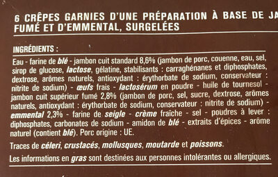 Crêpes jambon et emmental, surgelées - Ingrédients - fr