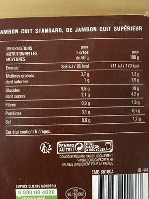 Crêpes jambon et emmental, surgelées - Informations nutritionnelles - fr