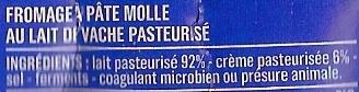 Le Crémeux - Fromage pâte molle au lait de vache pasteurisé - Ingrediënten - fr